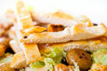 Chicken salad with grated carrots and mushrooms Royalty Free Stock Photo