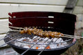 Chicken satay on barbecue grilling kebab skewers Stock Image