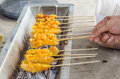 Chicken satay on grill bar Royalty Free Stock Photos