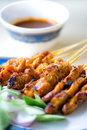 Chicken satay this image shows a plate of singapore Royalty Free Stock Photography