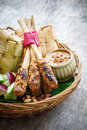 Chicken satay traditional balinese on wood background Stock Image