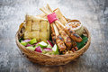 Chicken satay traditional balinese on wood background Stock Images