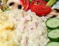 Chicken sauce vegetable salad Royalty Free Stock Image