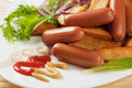 Chicken sausage with mustard and roasted potato Royalty Free Stock Photo