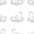 Chicken seamless pattern background. Monochrome wallpaper with hen vector. Royalty Free Stock Photo