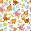 Chicken seamless pattern. Happy easter chick hen rooster and eggs. Kids vector wallpaper