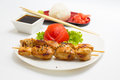 Chicken shashlik isolated on white background put on a white dish decorated with salad and soy sauce and tomati with wasabi ginger Stock Images