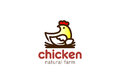 Chicken sitting Nest Logo design. Eco Natural Farm Logotype icon Royalty Free Stock Photo