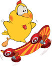 Chicken and skate board cartoon the little yellow goes for a drive on the striped skateboard Stock Images