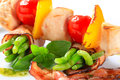 Chicken skewer and bacon wrapped green beans string in Royalty Free Stock Photography
