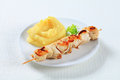 Chicken skewer and mashed potato with Royalty Free Stock Image