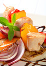 Chicken skewer with pan roasted vegetables Stock Images