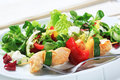 Chicken skewer with salad mix Stock Image