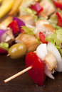 Chicken skewers of meat and vegetables Stock Images