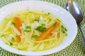 Chicken soup with with homemade noodles Stock Photo