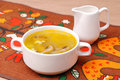 Chicken Soup with Mushrooms Stock Photo