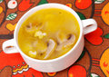 Chicken Soup with Mushrooms Stock Photos