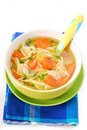 Chicken soup with noodles for child Royalty Free Stock Photo