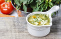 Chicken soup with vegetables on wooden table copy space your recipe here Royalty Free Stock Image