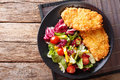 Chicken steak in breading Panko and fresh salad close-up on the Royalty Free Stock Photo