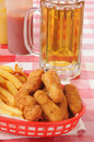 Chicken tenders and beer Royalty Free Stock Photo