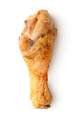 Chicken thigh fried isolated on a white background Stock Photo