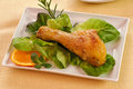 Chicken thigh with salad Royalty Free Stock Image