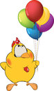 Chicken and toy balloons Stock Photos