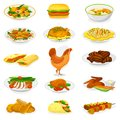Chicken vector cartoon chick character hen and food chicken-wings with fried potatoes and barbecue meat for dinner