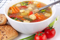 Chicken and vegetable soup Royalty Free Stock Images