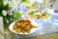 Chicken vegetables glass table garland Royalty Free Stock Photos
