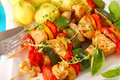 Chicken and vegetables skewers Royalty Free Stock Photo
