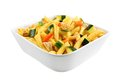 Chicken and veggie pasta salad bowl of with vegetables on white Royalty Free Stock Photography