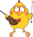 Chicken the violinist Stock Photo