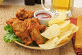 Chicken wings and beer Royalty Free Stock Image