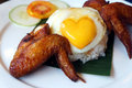 Chicken wings and egg with rice Stock Images