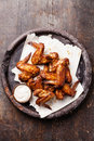 Chicken wings fried with sauce Stock Photography