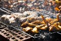 Chicken wings on the grill and pork Royalty Free Stock Photo