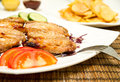 Chicken wings grilled with salad and fries Stock Photos