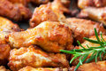 Chicken wings with herbs close up Royalty Free Stock Photo
