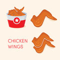 Chicken wings icons. Royalty Free Stock Photo