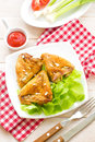 Chicken wings on a plate with vegetables Royalty Free Stock Photography