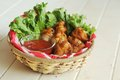 Chicken wings salad spicy tomato dip Royalty Free Stock Photo