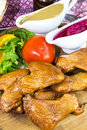 Chicken wings on the table in a restaurant Royalty Free Stock Images