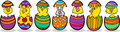 Chickens in easter eggs cartoon illustration Stock Photos