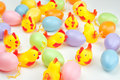 Chickens and eggs colorful easter concept Royalty Free Stock Photos