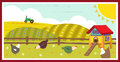 Chickens in the field cute vector illustration of and a chicken coop eps Royalty Free Stock Photography