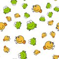 Chickens and frogs seamless pattern in cartoon style Royalty Free Stock Photo
