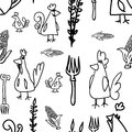 Chickens and hens seamless pattern on linked paper sheet Royalty Free Stock Image