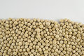 Chickpea beans close up of bottom border with white background Royalty Free Stock Photo